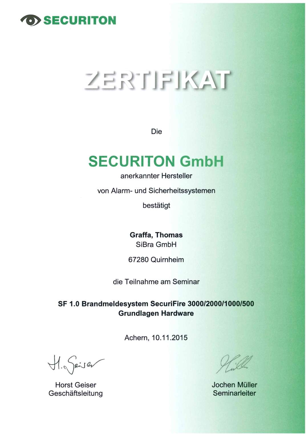 BMA I Securiton Securifire Hardware I Securiton I Zertifikat I Graffa_Thomas I 2015.11.10_1